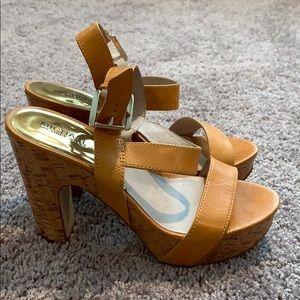 Michael Kors yellow cork heels